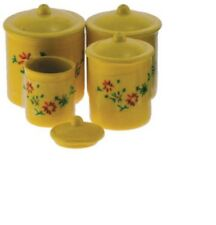 Dollhouse Miniatures 1:12 Scale Yellow Canister Set with Decals, 4pc #Im65306