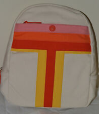 NEW TORY BURCH Backpack Canvas Pink Orange Red Yellow Beige Stripe T $250