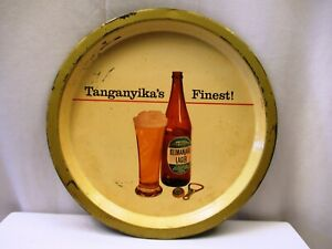 """Vintage Kilimanjaro Beer Advertising Tray Tin Serving Tanganyika'S Best Brewer""""2"""