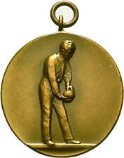 Bronze ART DECO Bowling MEDAL 1929 German Kegel CONTEST PENDANT 33mm Skittles