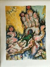 Ruben GROSMAN French Woodcut Linocut Expressionnism Signed Poster.Chagall style