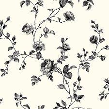 York Wallcoverings KH7082 White / Black / Grey Rose Toile Wallpaper