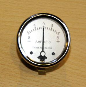 8A Amperemeter weiß 8-0-8 Ammeter white dial 36084 Wassell made  Ø1 3/4 BSA AJS