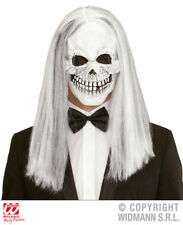 Skull Mask With White Wig Skeleton King Halloween Fancy Dress Accessory