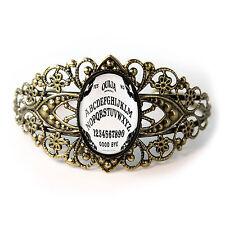 Antique Bronze Gothic Bats Ouija Board Glass Halloween Filigree Cuff Bracelet