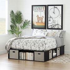 Flexible Black Oak Full-Size Platform Bed With Storage & Baskets 54In