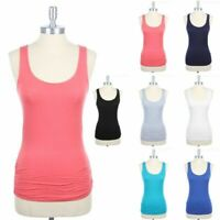 Sleeveless Scoop Neck Ruched Sides Tank Top with Triangular Back Yoke S M L
