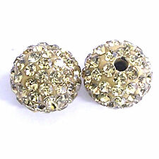 10 Light Topaz Rhinestone clay pave 8mm beads for Shamballa Bracelets