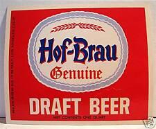 Hof Brau Genuine Draft Beer Bottle Label Los Angeles Ca