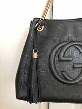 100% Authentic Gucci Hobo Handbag Black Pebbled Leather.