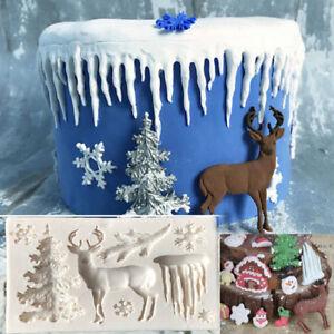 Christmas Deer Silicone Fondant Mould Cake Sugarcraft Chocolate Baking Mold Tool