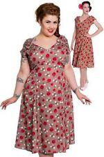 HELL BUNNY 1940s Vintage Style Dress Cherry Halloween Christmas  WW2 SZ 20 3XL