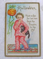 Vintage Embossed Halloween Postcard Scared Boy Cat Jack o Lantern Stecher 1911