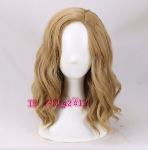 Captain Marvel cosplay wig medium long wavy curly hair wig + a wig cap