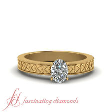 Vintage Style 1/2 Carat Oval Shaped Solitaire Diamond Engagement Ring FLAWLESS