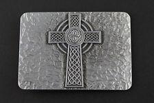 Rectángulo Cruz Celta Hebilla de Cinturón Metal CHRISTIAN CRUZ nudos Efecto Con Textura