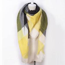 Plaid Blanket Scarf Tartan Plaid Scarf Yellow and Dark Grey Blanket Scarf