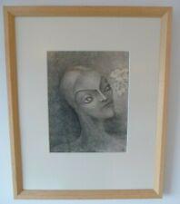 """Pam Rueter krijttekening op papier """"hoofd en bloemen"""". Ingelijst.Ca.:1930."""