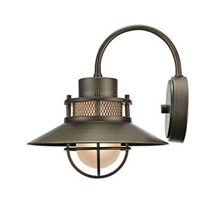 Globe Electric 44097 Liam Outdoor Wall Finish Frosted White Glass Shade Bronze