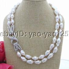"Keshi Baroque Pearl Necklace 20""-21 Natural 2 Strands White 18Mm Reborn"
