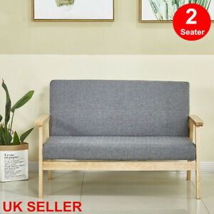 Sofa Bed 2 Seater Fabric Armchair Love Seat Linen Seat Wood Frame Modern Sofabed
