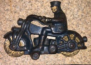 "Original Paint Tires 1930 Champion Harley Davidson Motorcycle Cast Iron Toy 5"""