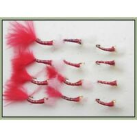 Goldhead Buzzers 12 x Red & Red Marabou Glass UV, Bloodworm Patterns Trout flies