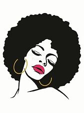 ART PRINT POSTER PAINTING DRAWING WOMAN WITH AFRO HAIRSTYLE LIPSTICK LFMP0696
