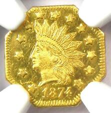 1874 Indian California Gold Dollar G$1 BG-1124 R4 - NGC MS65 PL - $4,500 Value