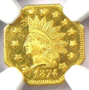 1874 Indian California Gold Dollar G$1 BG-1124 R4 - NGC MS65 PL - $4,500 Value