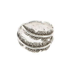 Vintage Charm Sterling Silver Adjustable Bird Feather Wrap Shaped Ring For Lover