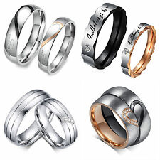Luxury Stainless Steel Love Heart Couple Rings Her & His Engagement Wedding Band