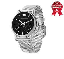 Emporio Armani AR1811 Men Silver Mesh Stainless Steel Chronograph Watch UK