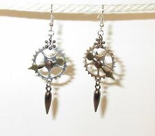 STEAMPUNK GEAR EARRINGS Silvered Thick Moving Arrow and Hematite Dangle