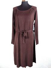 BCBG Max Azria Sweater Dress XL Brown Sheath Long Sleeve Knee Length Lightweight