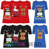 Womens Novelty Christmas Top Ladies Rudolph Santa Xmas TShirt Top Plus Size