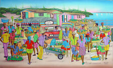 "Haitian Painting by the Master Denis Rousseau 12"" X 20"" Canvas Haiti Art"