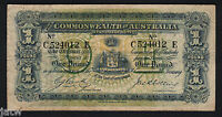 Australia R-21. (1918) Cerutty/Collins - One Pound.. C Prefix, E Suffix.. Fine