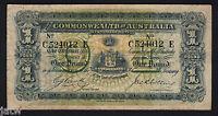 Australia R-21. (1918) Cerutty/Collins - One Pound.. C Prefix, r Suffix.. aVF