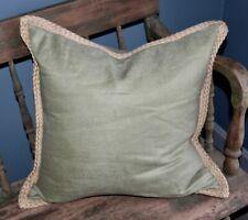 "POTTERY BARN Pillow SAGE GREEN Braided Jute Trim 20"""