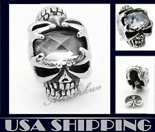 Wicked double skull with central forehead CZ Stainless Steel Men Earrings Stud