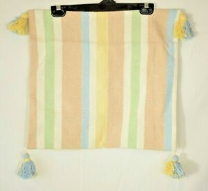 Multi-Color Striped Pillow Cover with Corner Tassels - 17x17 (New in Bag)
