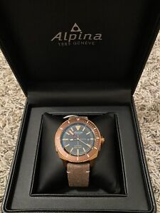 NEW Alpina Seastrong Automatic Diver Brown Leather Strap Watch AL-525LBBR4V4