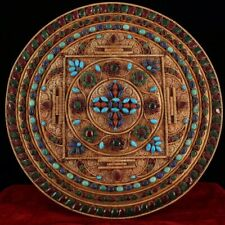 Tibetan temple collection old copper inlaid gems Thangka Mandala Home decoration