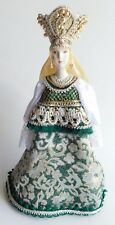 Medieval Russian Princess Porcelain Jewel Brocade Ceremonial Head Dress Figurine