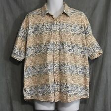 Natural Issue Mens Short Sleeve Geometric Print Button Front Shirt Size Large