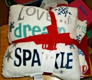 CANNON HOLIDAY PILLOW & THROW SET WHITE WITH HOLIDAY WORDS SPARKLE DREAM NWT