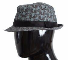 NUEVO CON ETIQUETA DOLCE & GABBANA sombrero trilby Gris búho estampado Lana