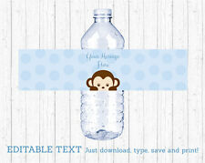 Mod Pop Monkey Blue Water Bottle Labels Printable Editable PDF