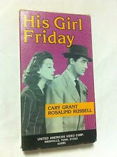 HIS GIRL FRIDAY, CARY GRANT, ROSLALIND RUSSELL, VHS 1985, BLACK & WHITE